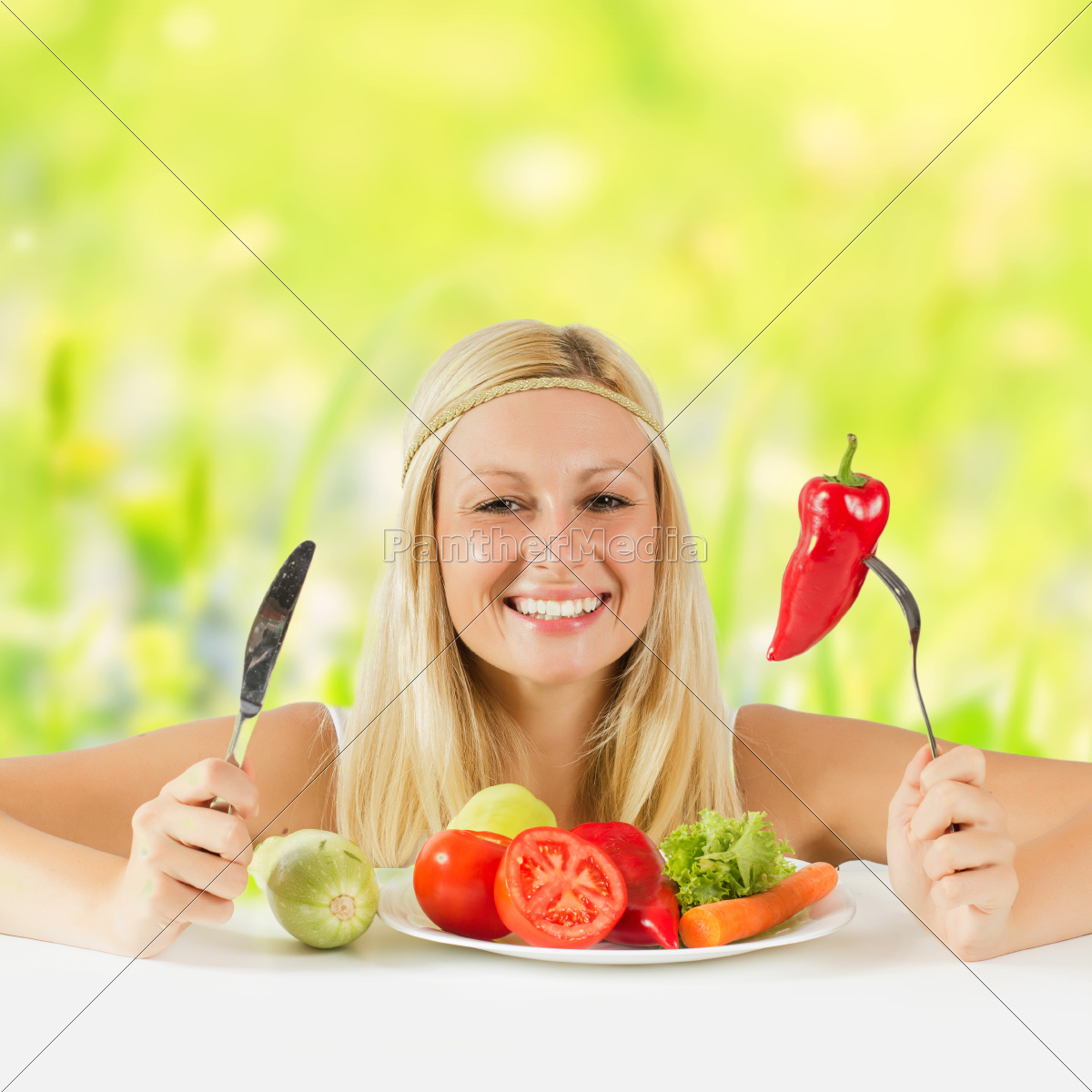 happy, woman, eating, vegetable, - 10112033