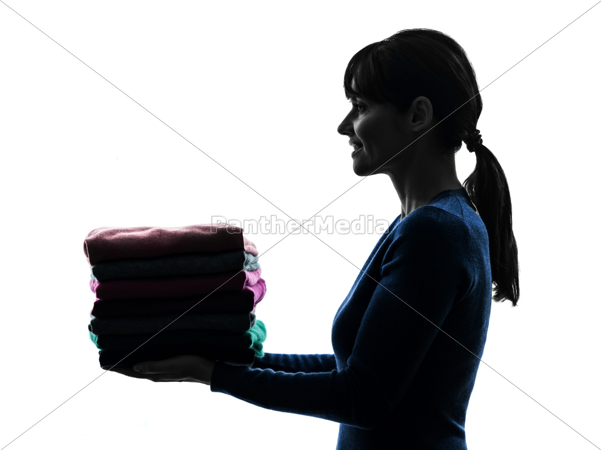 woman, maid, housework, holding, sweater, pile - 10112923