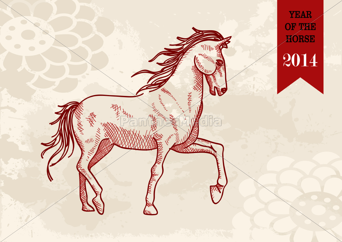 chinese, new, year, horse, hand, drawn - 10114349