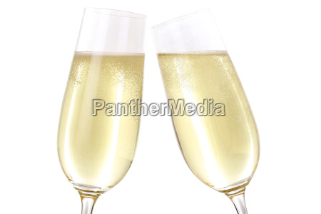 cheers with two glasses of sparkling