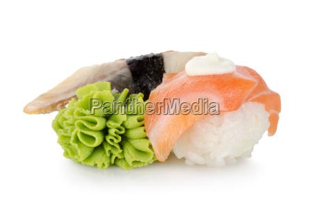 sushi and wasabi isolated