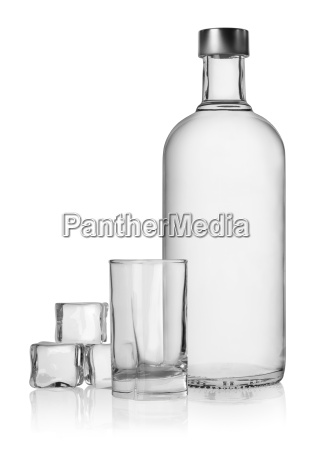 bottle, of, vodka, and, ice, cube - 10122259