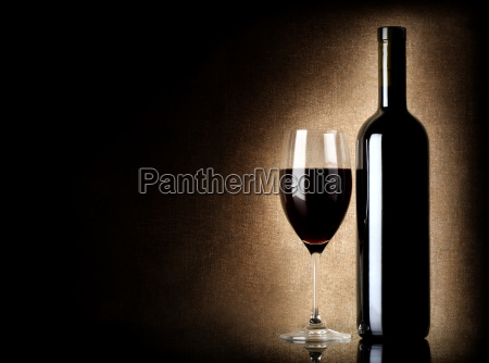 wine bottle and wineglass on a
