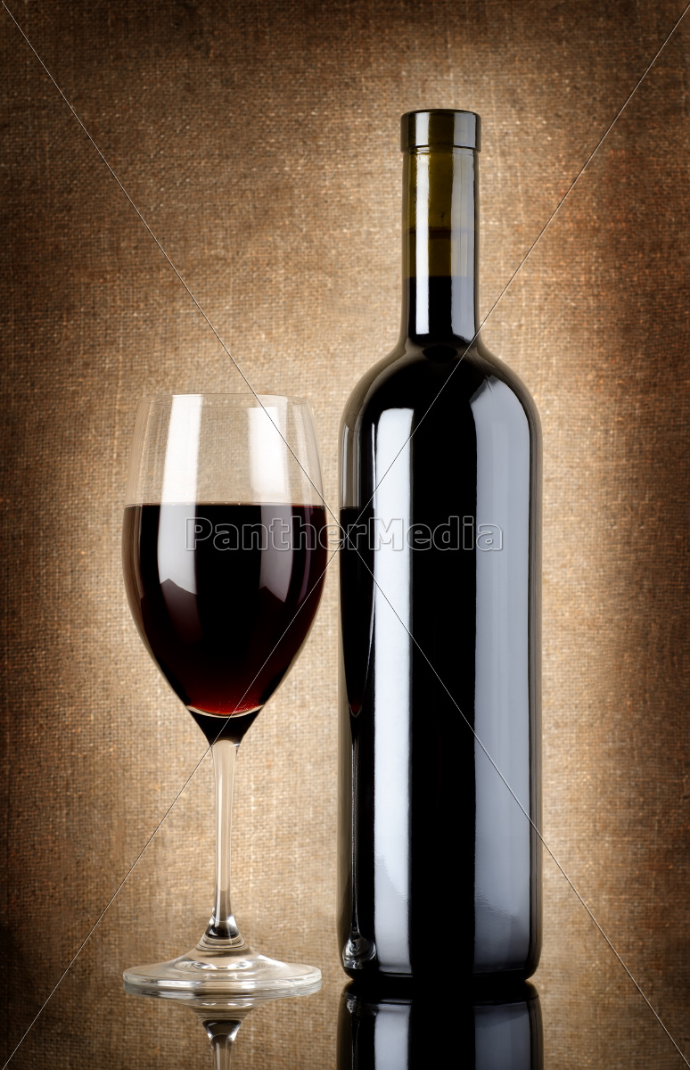 wine, bottle, and, wineglass, on, a - 10123533
