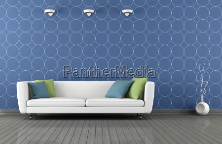 blue, and, white, modern, lounge - 10129275