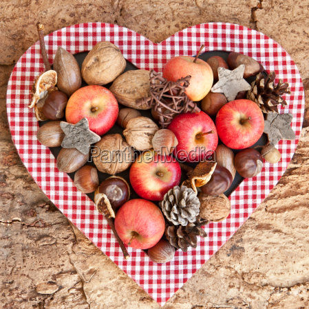 background with nuts and apples
