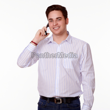 charming man speaking on his cellphone