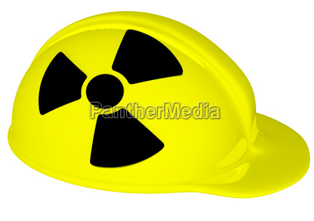 yellow helmet with radiation sign
