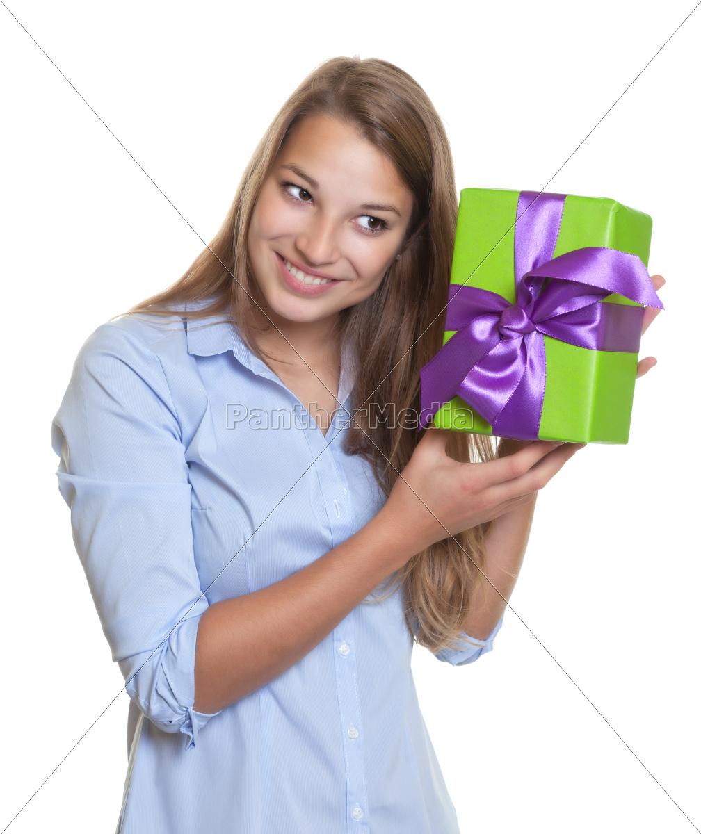 woman, listening, on, gift - 10142151