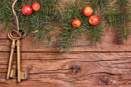 wooden background with old keys