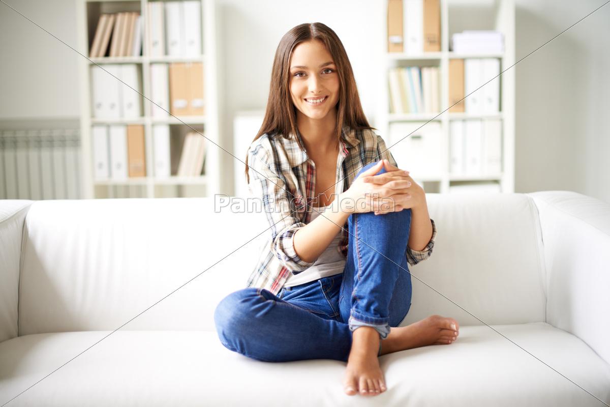 girl, on, sofa - 10153559