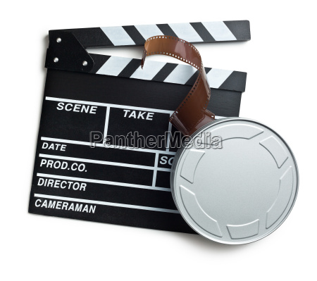 clapper board with film reel on