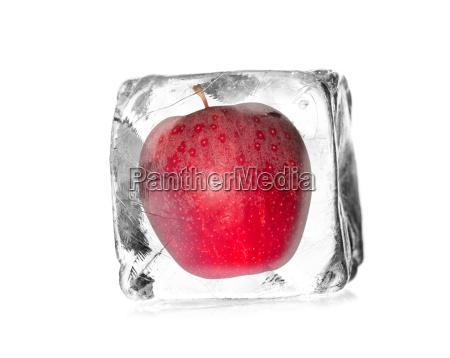 apple released in an ice cube