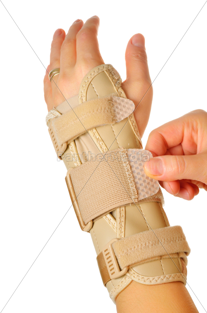 female, wearing, wrist, brace, over, white - 10158547