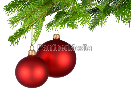 two red christmas baubles hang on