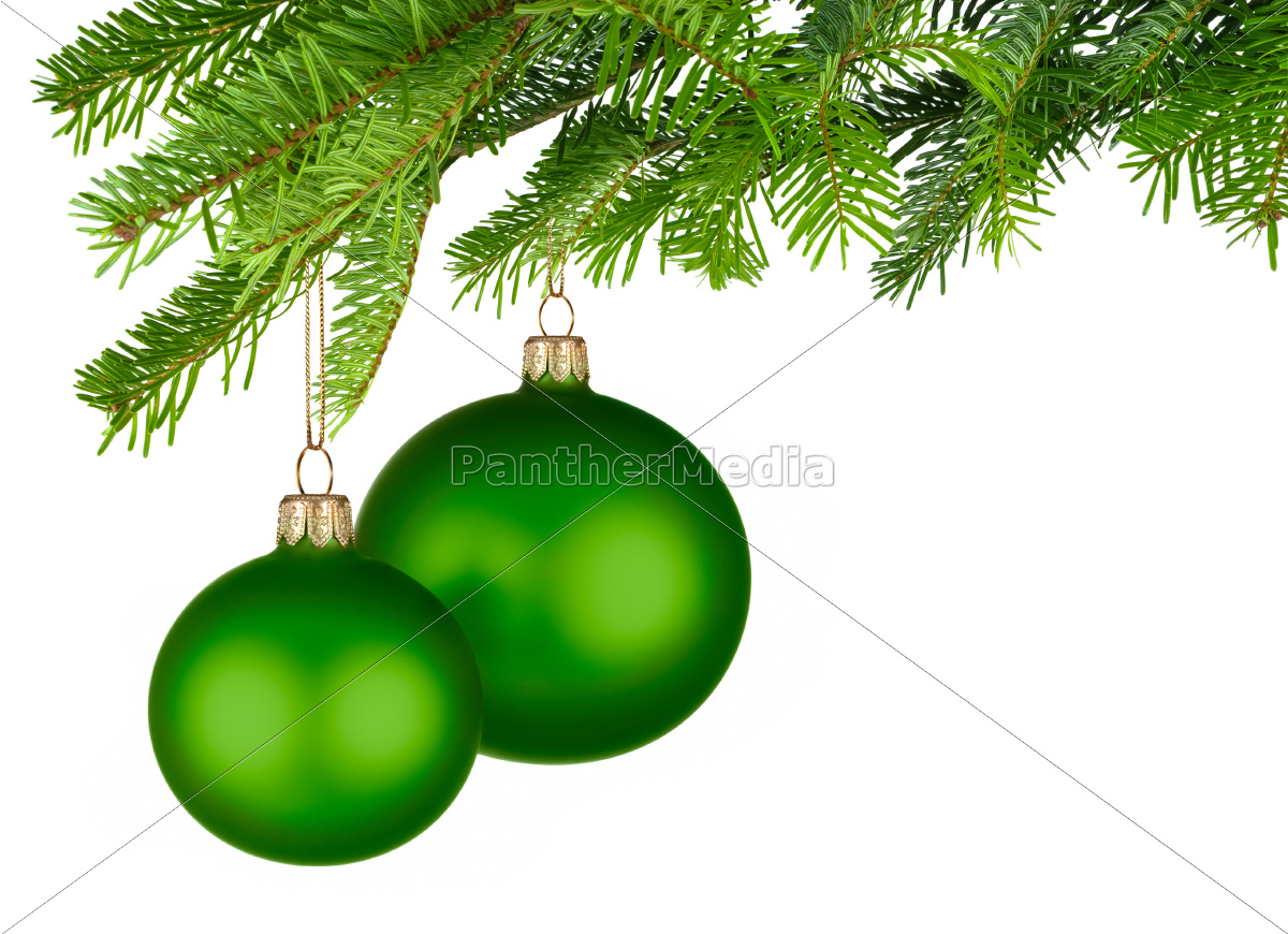 two, green, christmas, baubles, hanging, on - 10160811