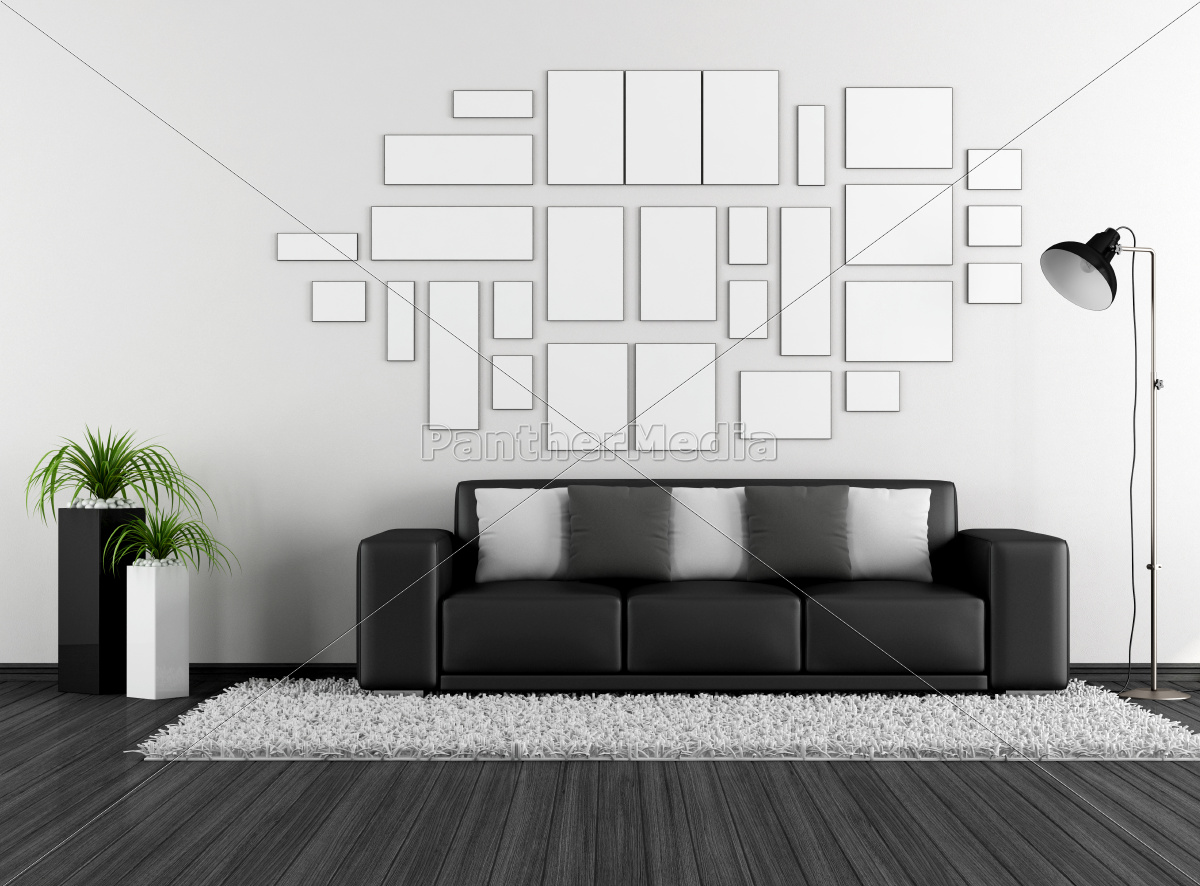 black, and, white, living, room - 10162431
