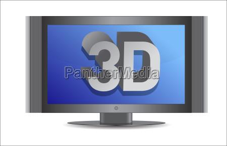 3d, tv, illustration, design, over, a - 10165681