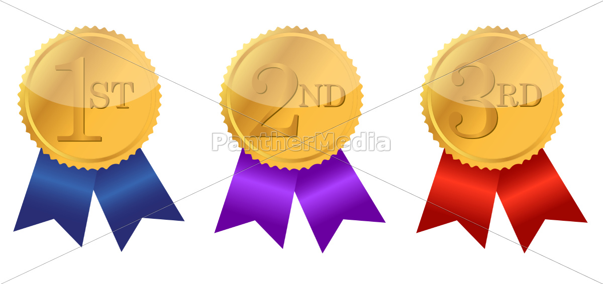 gold, award, ribbons, with, place, numbers - 10165607