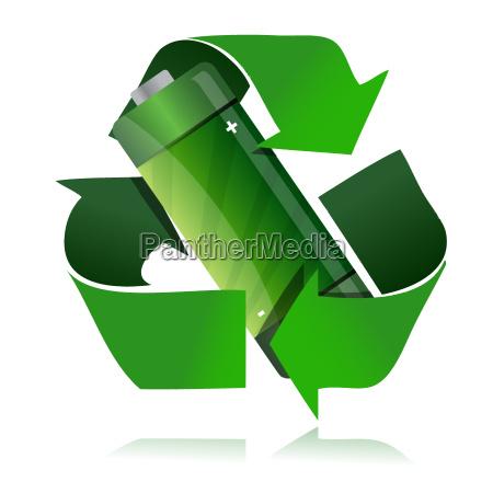 battery recycling symbol illustration design over