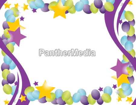 celebration, balloon, frame, with, stars, isolated - 10166263