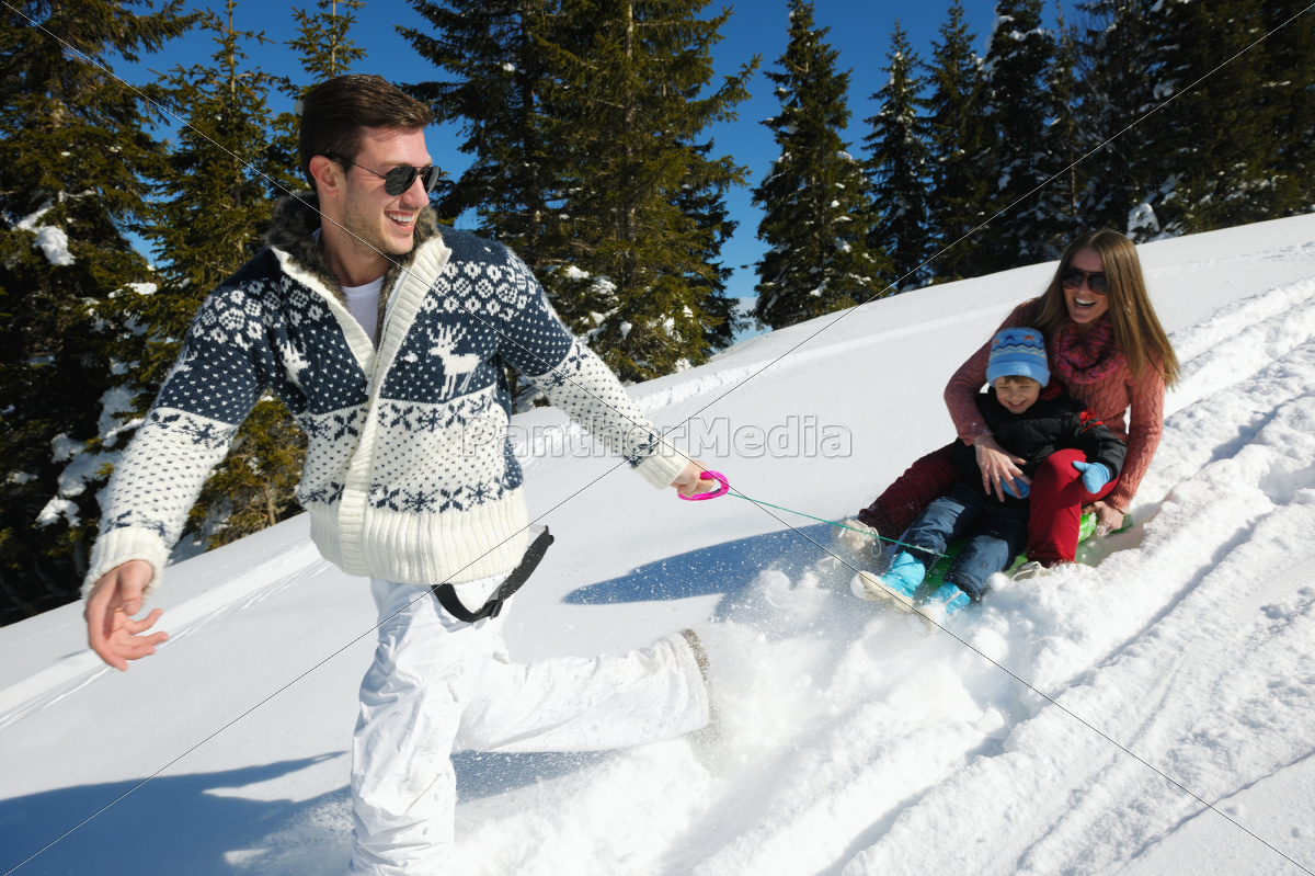 family, having, fun, on, fresh, snow - 10168593