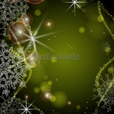 green, background, with, snowflakes. - 10170267