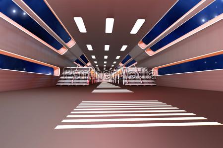 station, hall, corridor, inside, visualization, space - 10178351