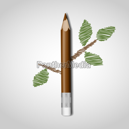 wooden, pencil, with, leaf. - 10186641