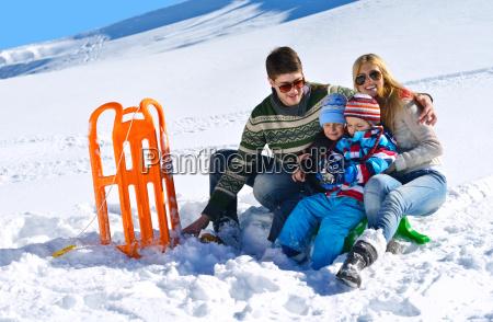 family, having, fun, on, fresh, snow - 10196671