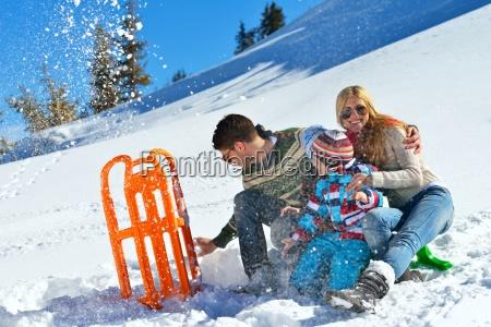 family, having, fun, on, fresh, snow - 10196673