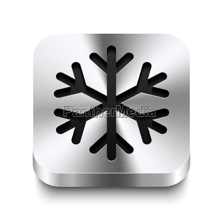 square metal button perspektive snowflake