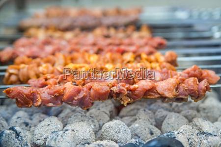 kebap lamb skewers on the grill