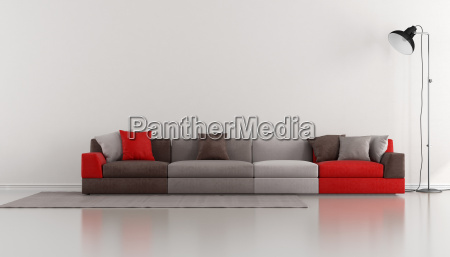 minimalist lounge with colorful modern