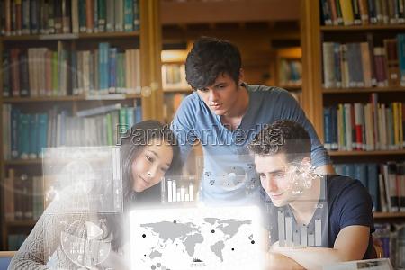 focused, students, working, on, digital, interface - 10209951