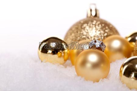 festive christmas decoration in gold shiny