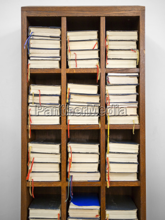 hymnals in a rack