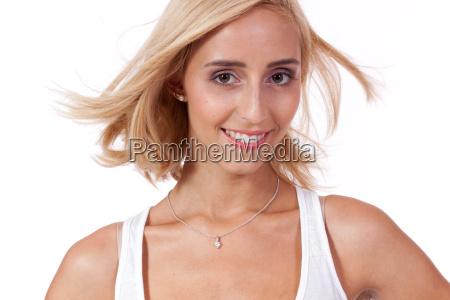 young attractive slim blonde woman portrait