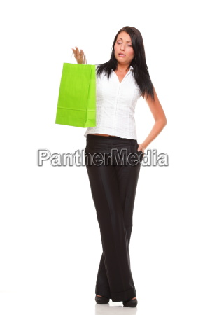 full body portrait cheerful businesswoman holding
