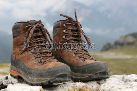hiking boots in the alps mountains