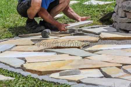 tiling marble slabs
