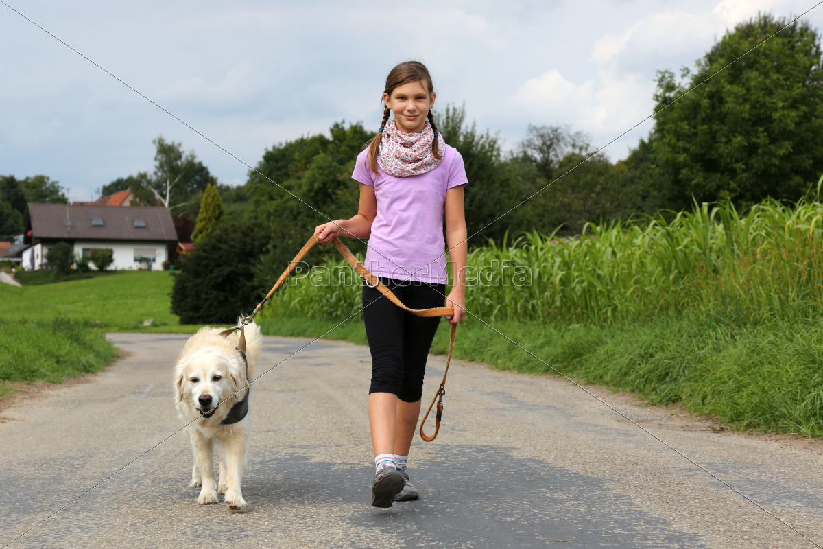 girl, walking, with, dog, walkies - 10217315