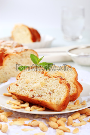 slices of sweet braided bread and