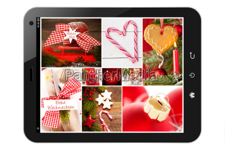 tablet pc with christmas collage