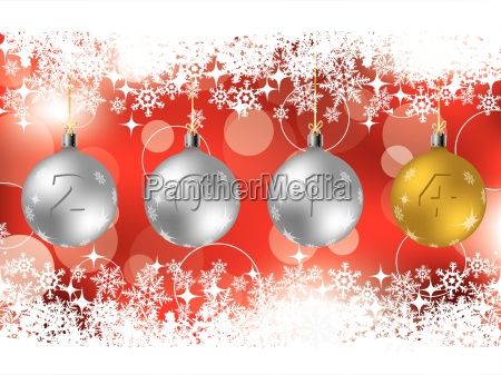 2014 decorations on red christmas greeting