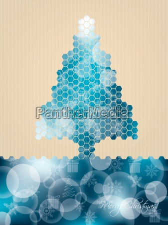 hexagon christmas greeting with striped background