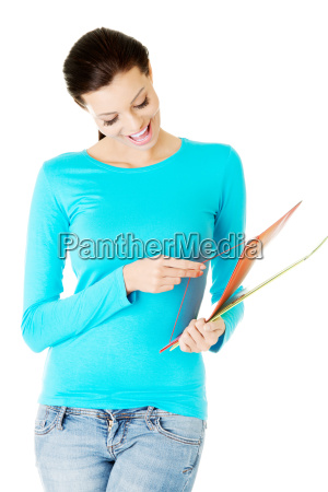 attractive woman with files