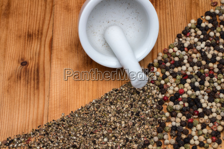 pepper colorful on wooden board with