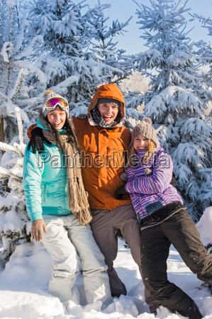 three, friends, enjoy, snow, winter, holiday - 10256587