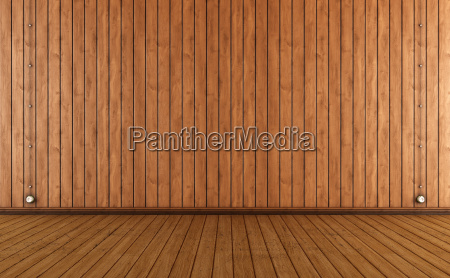 vintage room with wooden wall paneling